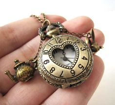 Antique Brass Heart Filigree Cover Usable Pocket Watch with Cute Rabbit and Teapot Pendants Necklace