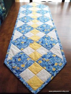 Blue Yellow Table Runner Quilted Patchwork by . - Blue Yellow Table Runner Quilted Patchwork by … Quilted Table Runners Christmas, Patchwork Table Runner, Table Runner And Placemats, Quilt Table Runners, Christmas Patchwork, Quilted Table Runner Patterns, Yellow Table, Yellow Desk, Place Mats Quilted