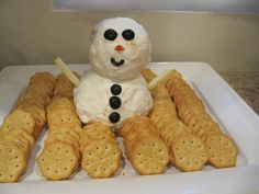 cheese snowman and crackers for a winter wonderland party - do this with our cheeseball recipe. Winter Birthday Parties, Frozen Birthday Party, Frozen Party, Birthday Fun, Birthday Party Themes, Birthday Ideas, Snowman Party, Winter Wonderland Birthday, Crackers