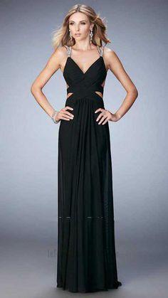 08cf82b4d8 Two Sequin Straps La Femme 22089 Black Indigo Floor Length Prom Dresses