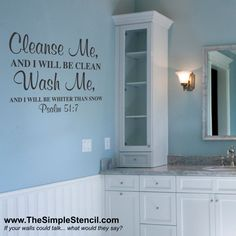 Charmant A Psalms Bible Verse That Is The Perfect Decor For A Bathroom. Many Wall  Lettering