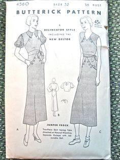 1930s dress sewing pattern by Butterick 4560.   Bust by Fancywork