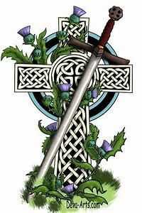 """I wanted my tattoo to look something like this Celtic cross with a claidheamh-mór ( Scottish gaelic """"great sword"""" or in English a claymore"""" Celtic Pride, Irish Celtic, Celtic Symbols, Celtic Art, Celtic Crosses, Irish Pride, Scottish Thistle Tattoo, Scottish Gaelic, Scottish Quotes"""