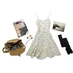 A fashion look from April 2014 featuring floral print dress, black stockings and brown leather messenger bag. Browse and shop related looks.