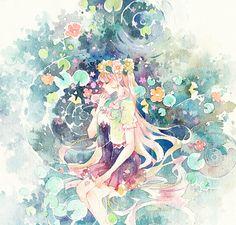 Anime art watercolour - home design inspiration Art And Illustration, Watercolor Illustration, Watercolor And Ink, Watercolor Paintings, Aesthetic Couple, Anime Galaxy, Cute Girl Drawing, China Art, Anime Shows