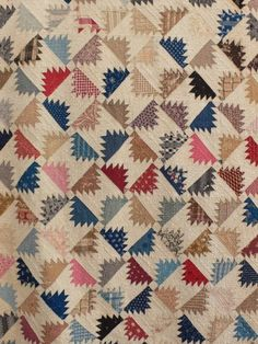 GORGEOUS Delectable Mountains FLYING GEESE bordered SCRAPBAG antique quilt c1900