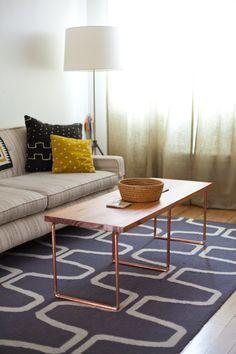 DIY copper coffee table