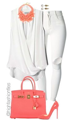 Coral by highfashionfiles on Polyvore featuring (+) PEOPLE, Hermès, Gerard Yosca, Fallon and Christian Louboutin