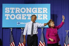 Barack Obama Photos - Democratic presidential candidate former Secretary of State Hillary Clinton (R) and U.S. president Barack Obama greet supporters during a campaign rally on July 5, 2016 in Charlotte, North Carolina. Hillary Clinton is campaigning with president Obama in North Carolina. - President Obama Campaigns With Hillary Clinton In Charlotte