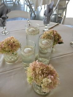 Furst Florist Centerpiece with pearls and candles #FurstEvents #daytonweddings