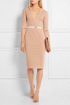 VICTORIA BECKHAM Belted stretch cotton-blend twill dress