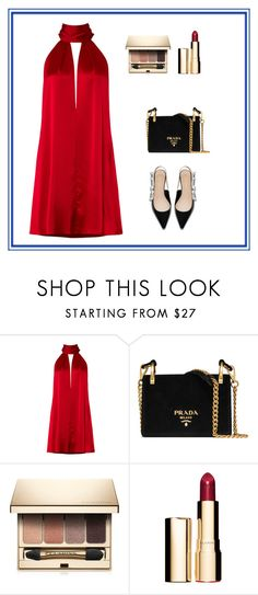 """""""Vermelhos"""" by marciabackermendes ❤ liked on Polyvore featuring Galvan, Prada and Clarins"""