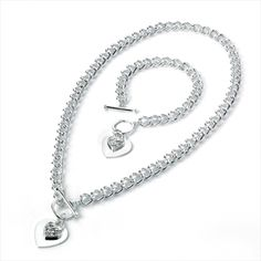Silver and crystal style necklace and bracelet set €15
