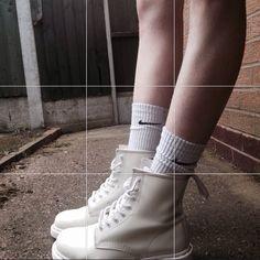   white monochrome doc martens  