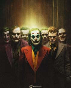 willgray_art All seven live action Jokers throughout history. From left to right; Cesar Romero in Batman Heath Joker Comic, Le Joker Batman, Harley Quinn Et Le Joker, The Joker, Batman Art, Gotham Batman, Batman Robin, Comic Art, Joker Dark Knight