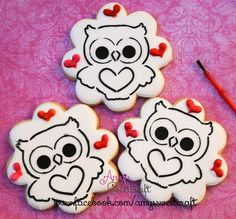 Valentine Owl paint your own cookies