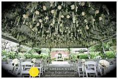 What better picture for #flowerfriday then suspended soft #whiteroses down the aisle at the @riveroakscountryclub. @steveleephoto #whimsicalwedding #outdoorwedding #kcedesign #weddingstylist #texasweddingplanner #followme