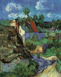 #Art #Painting by Vincent Van Gogh, Houses in Auvers, 1890.