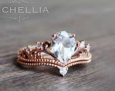 Pear Morganite Engagement Ring Set with Band by MichelliaDesigns