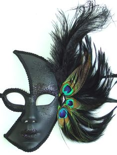 Women's Black Feather Masquerade Mask Black & White Masquerade Ball Masks Women's black feather mask is hand glittered and accented with large feathers. Mask has a comfortable fit and comes with black ribbon ties. Peacock Mask, Feather Mask, Mask Face Paint, Mask Painting, Large Feathers, Black Feathers, Masquarade Mask, Villain Mask, Venetian Masquerade Masks