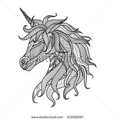Drawing unicorn zentangle style for coloring book, tattoo, shirt design, logo, sign - stock vector