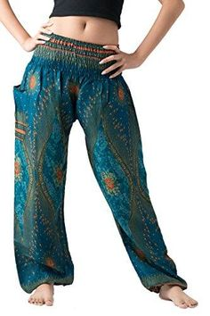 003596d899 Bangkokpants Women's Boho Pants Hippie Clothes Yoga Outfits Peacock Design  One Size Fits (Green)