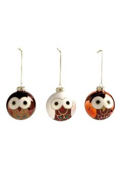 Christmas owl ornaments.