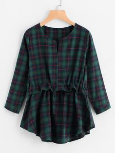 Checked Frill Drawstring Waist Blouse