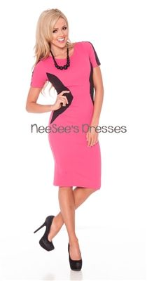 Fuchsia and Black Color Block Dress. Stylish and flattering!