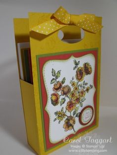 Card tote will hold 8 cards plus envelopes and only takes 1 sheet of card stock.
