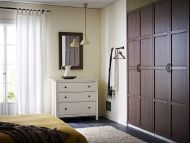 White chest of 3 drawers with grey-brown mirror and wardrobe