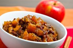 Apple Chutney. apples, onion, pepper, garlic, giner, brown sugar, apple cider vinegar, raisins, tumeric, cinnamon, giner, allspice, cloves, cayenne pepper