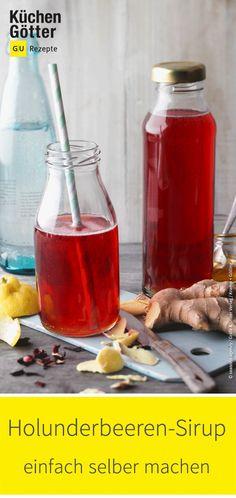 Wir zeigen dir ein tolles Rezept für selbst gemachten #Holunderbeeren-Sirup. #sirupselbermachen #sirup
