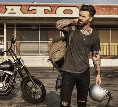 👌 ___ -Model: ___ Tag us to be featured. Bad Boy Style, Boy Fashion, Mens Fashion, Biker Boys, Estilo Rock, Outfits Hombre, Rugged Men, Photography Poses For Men, Biker Style