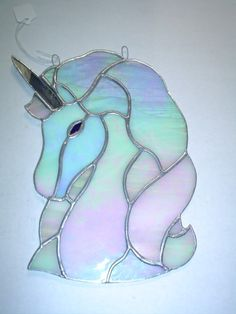 elegant unicorn stained glass by rdjglass4u on Etsy, $19.99