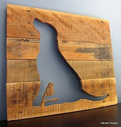 Reclaimed Wood Dog Silhouettes - I can use pallet wood and Manny's pit bull head :)