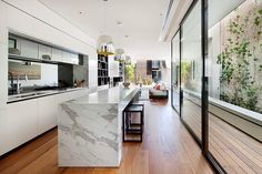Great Small Narrow Kitchen Remodel Kitchen Of Magnificent Home Renovation Optimizing The Long Narrow Long Narrow Kitchen, Narrow Kitchen Island, Long Kitchen, Open Plan Kitchen, Marble Island, Nice Kitchen, Awesome Kitchen, Stone Island, Beautiful Kitchen