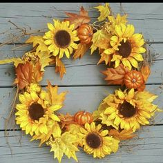 """Beautiful Sunflower Fall Wreath ! 🌻❤ The perfect Autumn Wreath to add color and make your home cozy this Fall !\n\n#arusticfeeling #falldecor #fallwreath #farmhousedecor #farmhousewreath #sunflowers #pumpkins #fall #autumn"" Easy Fall Wreaths, Thanksgiving Wreaths, Thanksgiving Decorations, Door Wreath, Wreaths For Front Door, Grapevine Wreath, Barn Wedding Decorations, Wedding Ideas, Rustic Coasters"