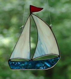 Stained Glass By The Sea Sailboat by theglassmenagerie on Etsy