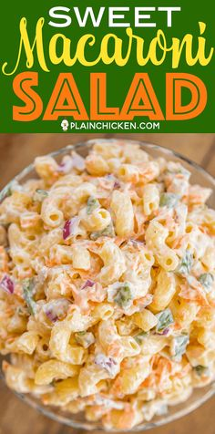 Sweet Macaroni Salad - seriously THE BEST macaroni salad EVER! I took this to a potluck and it was the first thing gone. Everyone asked for the recipe! Can make this ahead of time and refrigerate overnight. Sweet Macaroni Salad Recipe, Sweet Pasta Salads, Cold Macaroni Salad, Elbow Macaroni Recipes, Hawaiian Macaroni Salad, Pasta Salad Recipes, Noodle Recipes, Mac Salad Recipe, Mayonnaise