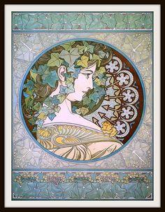 "Alfons Mucha Art Nouveau ""Ivy get Mucha coloring sheets Art Nouveau, Art Deco Pictures, Alphonse Mucha Art, Bohemian Art, Illustrations And Posters, Copics, Vintage Art, Quilting Designs, Illustration Art"