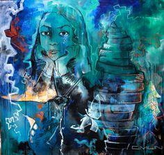 Madeline, technique mixte sur toile,190x190 cm Caroline MILIN ART