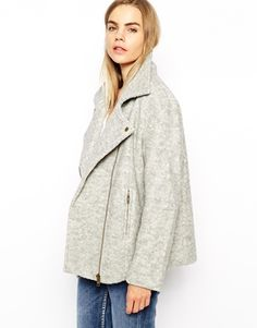 Ganni Collared Wool Mix Biker Jacket at asos.com #bikerjacket #leatherjacket #jacket #covet.me
