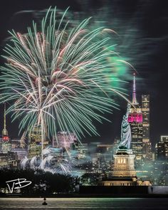 Manhattan Skyline Status Liberty Fireworks - New York City, New York, USA