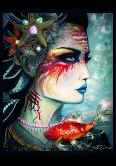 mermaid hunting by pixiecold - Colorful Portrait Paintings by Svenja Jödicke Art And Illustration, Fantasy Kunst, Fantasy Art, Colorful Paintings, Watercolor Paintings, Lips Painting, Watercolor Fish, Mermaids And Mermen, Mermaid Art