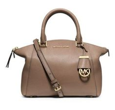 MICHAEL KORS Dark Dune RILEY Satchel Handbag Shoulder Bag Sm Leather Purse #MichaelKors #Satchel