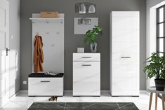 White Gloss Hall Furniture Set Tall Storage Unit Shoe Cabinet Coat Hooks Fever in Home, Furniture & DIY, Furniture, Cabinets & Cupboards Hall Furniture, Living Room Furniture, Furniture Sets, Shoe Storage Unit, Locker Storage, Hallway Storage, Low Cabinet, Tall Cabinet Storage, Cloakroom Storage