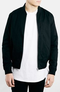 Topman Black Cotton Bomber Jacket