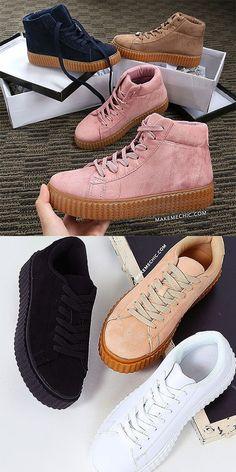 Suede Gum Sole Flatform Sneakers