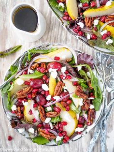 pomegranate pear and pecan salad with balsamic vinaigrette a fresh and ...